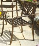 Set of 2 Rose Antiqua Cast Steel Garden Armchairs with Cast Iron Insert