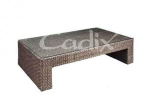 Quattro Brown Wicker Rectangular Coffee Garden Table with Glass Top
