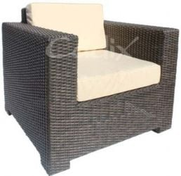 Quattro Brown Wicker Single Garden Sofa with Cushions