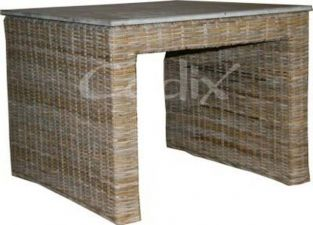 Verandhi Rattan 60 x 60cm Garden Table with Slate Top