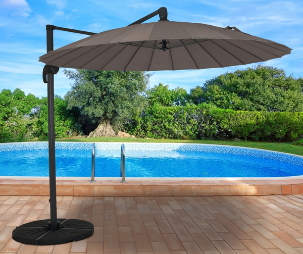 Geisha Cantilever Parasol 2.7m Round in Taupe