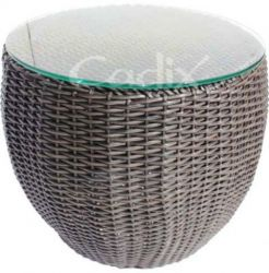 Quattro Brown Wicker Garden Stool
