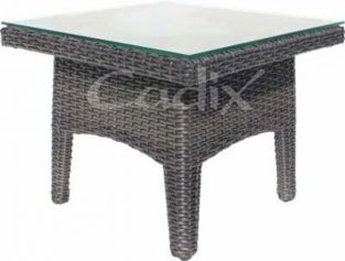 Quattro Brown Wicker Square Garden Coffee Table with Glass Top
