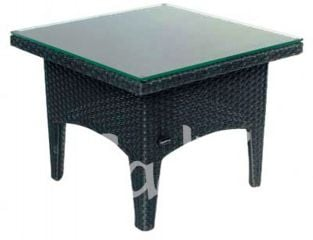 Quattro Wicker Black Square Garden Coffee Table with Glass Top