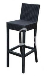 Quattro Black Wicker Garden Bar Stool