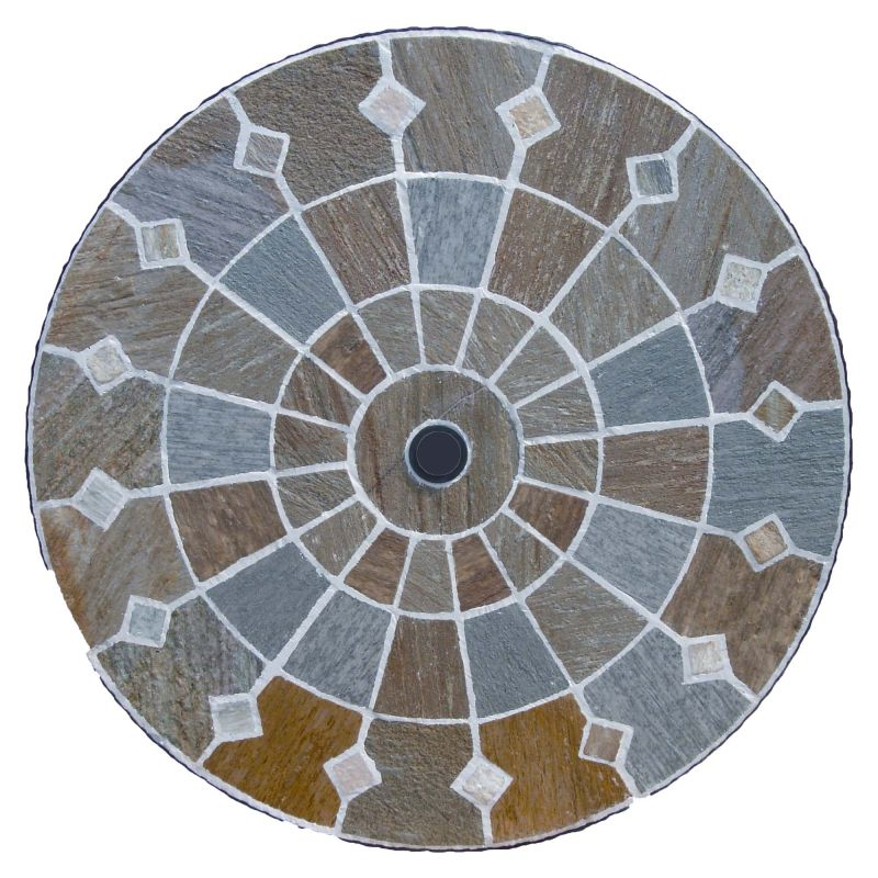 Alicante 91cm Round Mosaic Stone Garden Table
