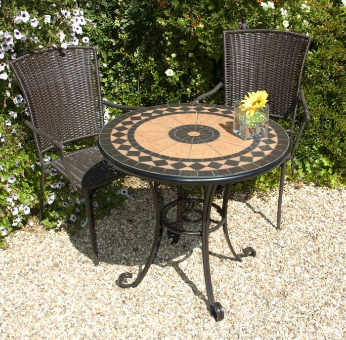 Cherbourg Garden Bistro Set - Round Ceramic Table with 2 Crete Wicker Chairs