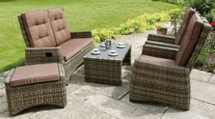 Rufford Reclining 3 Piece Wicker Effect Garden Suite with Coffee Table and Footstool