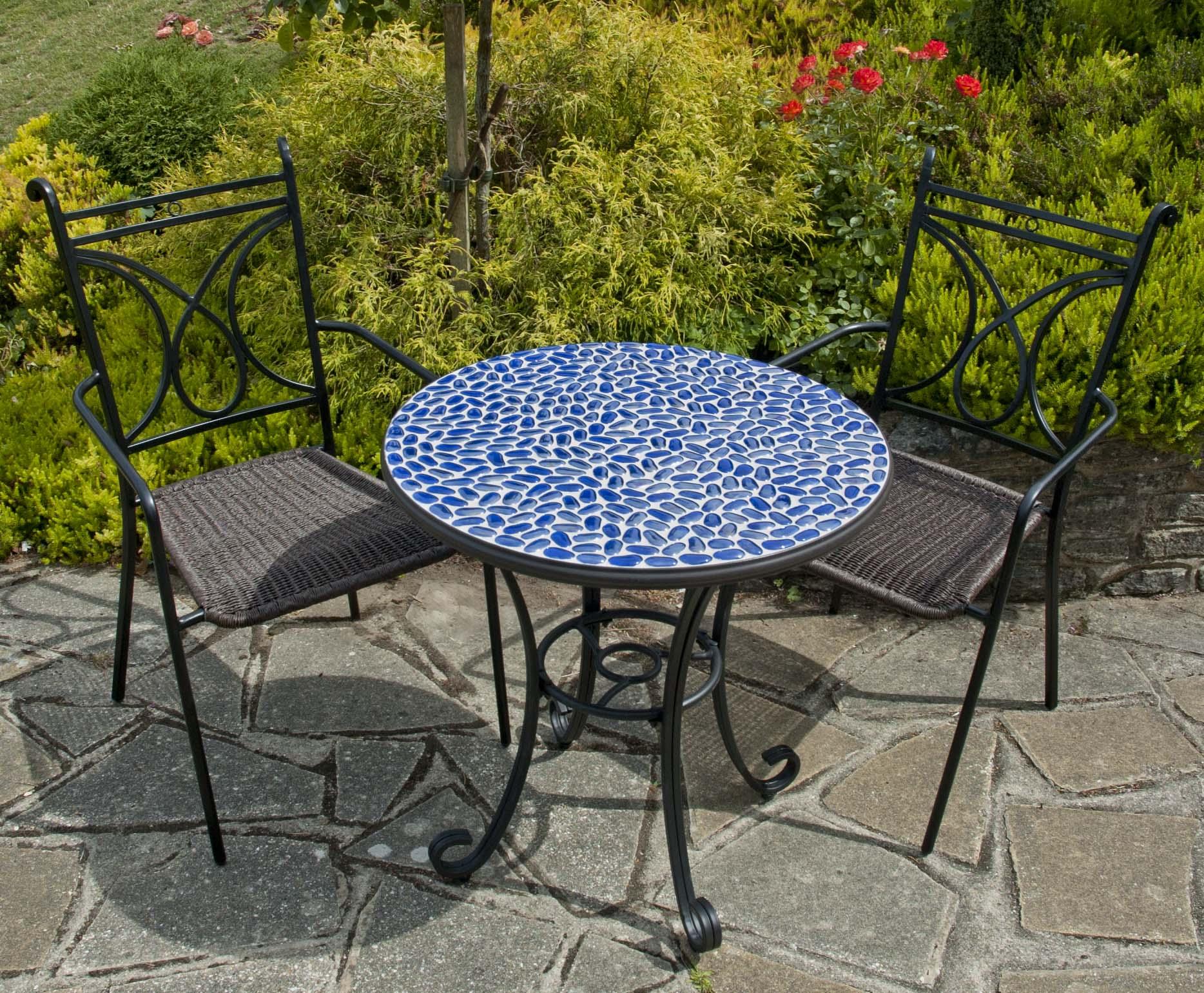 Garden Furniture Mosaic faro 70cm round glass mosaic garden table £104.99