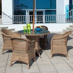 "Cozy Bay ""Sicilia"" 4 Seater Rattan Furniture Garden Dining Set"