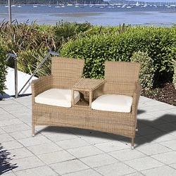 "Cozy Bay ""Hawaii"" Love Seat with Seat Cusions and Parasol Hole"