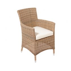 "Cozy Bay ""Hawaii"" Rattan Armchair in Four Seasons with Seat Pad Cushions"