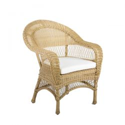 "Cozy Bay ""Victoria"" Beige Rattan Armchair with Seat Cushion"
