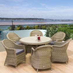 Oseasons Hampton Garden Rattan Dining Set of 6 Round Chairs and Table