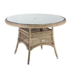 Oseasons 120cm Hampton Rattan Round Table with 8mm tempered glass