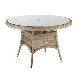 Oseasons 140cm Hampton Rattan Round Table with 8mm tempered glass