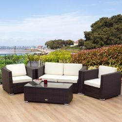 Oseasons Oxford Flex 4 Seater Brown Sofa Set Rattan Garden Furniture