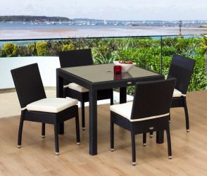 Sol Bistro Espresso 4 Seater Rattan Furniture Black 4 Line Restaurant Stackable Bistro Set