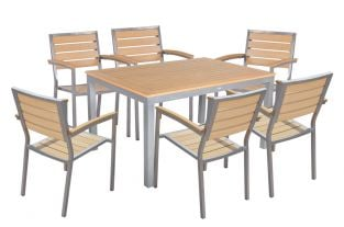 Sol Bistro Syn-Teak 6 Seater Teak Asian Bistro Stackable Set with 150cm table