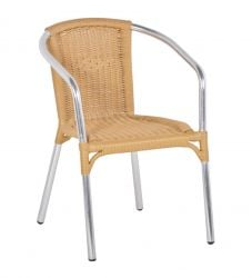 Sol Bistro Frappe Stackable Bistro Chair in Beige Rattan