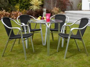Sol Bistro Cappuccino 4 Seater Rattan Furniture Black Restaurant Stackable Bistro Set