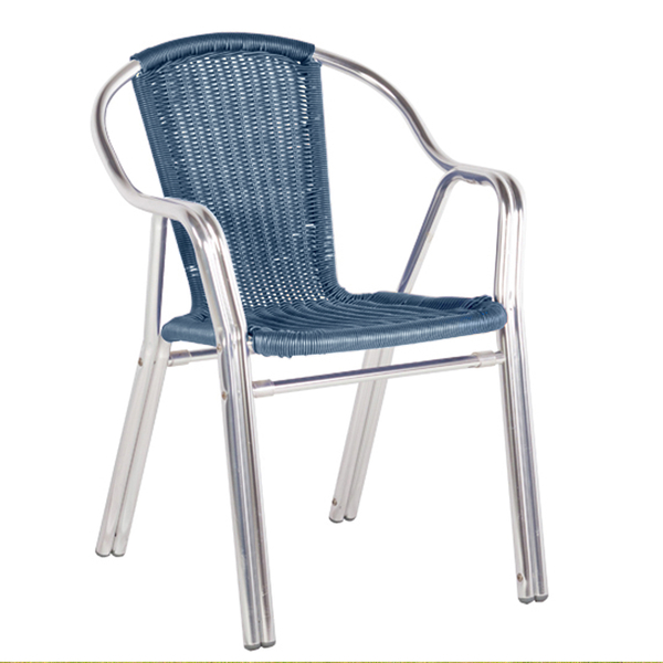 Sol Bistro Cappuccino Stackable Bistro Chair in Blue Rattan