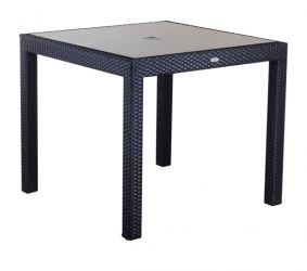 Sol Bistro Dining Black Rattan Table with glass