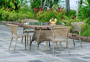 Alexander Rose Manila 120cm Round Rattan Garden Table with Glass