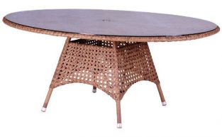 Alexander Rose Manila 160cm Oval Rattan Garden Table with Glass