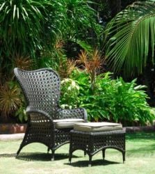 Alexander Rose Ocean Rattan Garden Wing Chair with Cushion
