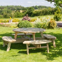 Rose Round Wooden Picnic Table 210cm