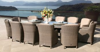 330cm Bali Oval Table with 12 Brighton Dining Armchairs