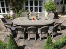 270cm Bali Oval Table with 2 Ohio Dining Armchairs & 10 Dining Chairs