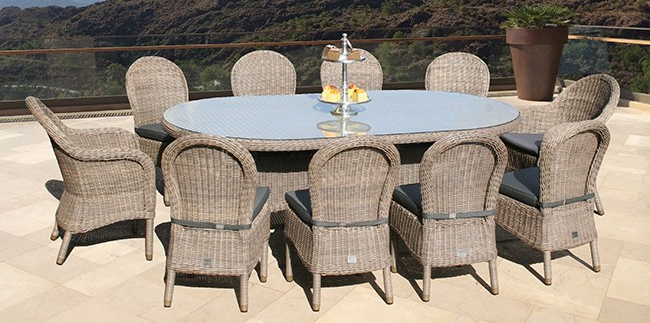 230cm Bali Oval Table with 2 Ohio Dining Armchairs & 8 Dining Chairs