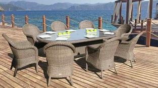 230cm Bali Oval Table with 8 Ohio Dining Chairs