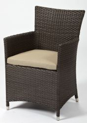 Sunset Brushed Brown Rattan Garden Dining Armchair