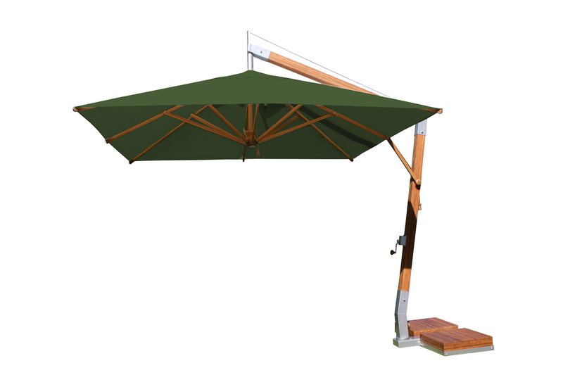 Side Wind 3.0m Forest Green Square Parasol