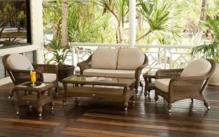 Colonial 4 Seater Sofa Set with Coffee Table, 2 Side Tables & Colonial Planter