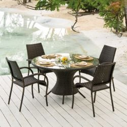 Ocean Wave Table with 4 Ocean Fiji Stacking Armchairs