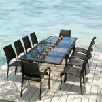 Ocean Fiji Extending Table with 10 Stacking Armchairs