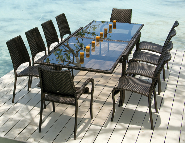 Ocean Fiji Extending Table with 10 Stacking Dining Chairs