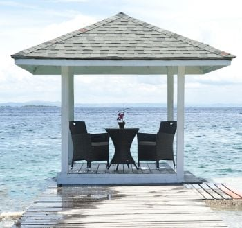 Ocean Wave Bistro Table with Armchairs & Cushions