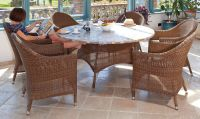 San Marino Mosaic Top Table & 6 Armchairs