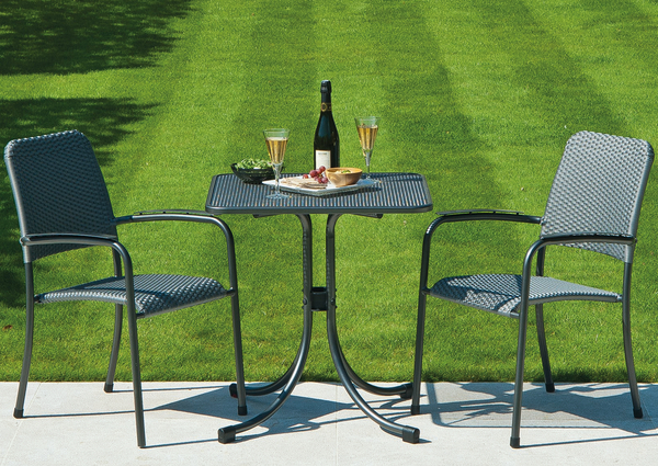 Portofino Square Bistro Set with Woven Chairs