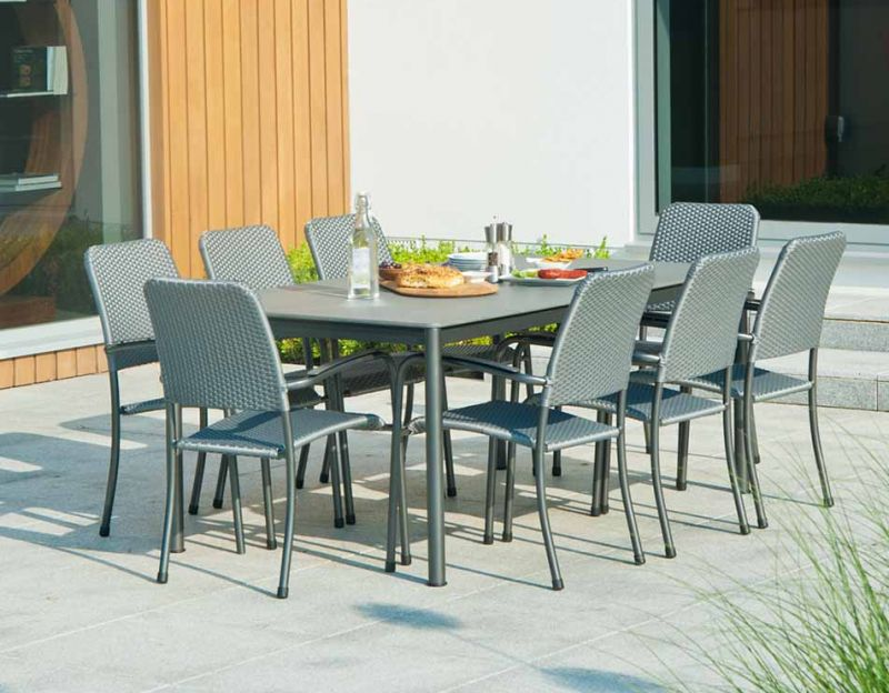 Portofino Stone Dining Set with 6 Woven Chairs