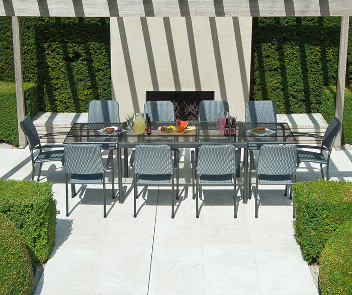 Portofino Extending Table Set with Woven Chairs