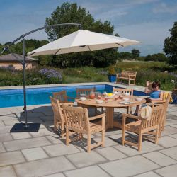 Roble Bengal Furniture Set with Armchairs, Parasol and Base