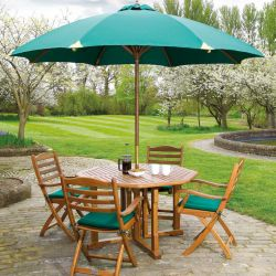 Cornis Gateleg Table with 4 Folding Chairs, Seat Pads & Parasol
