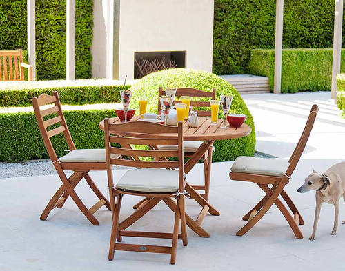 Cornis Folding Table with 4 Folding Chairs, Seat Pads, Parasol & Granite Base