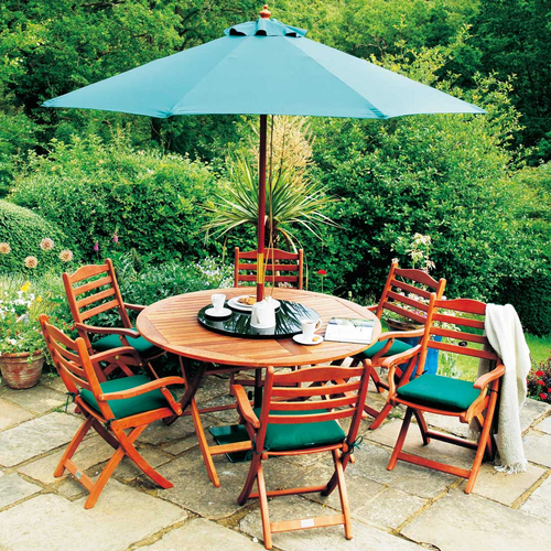 Cornis Folding Table with 6 Folding Chairs, Cushions, Parasol, Base & Granite Lazy Susan